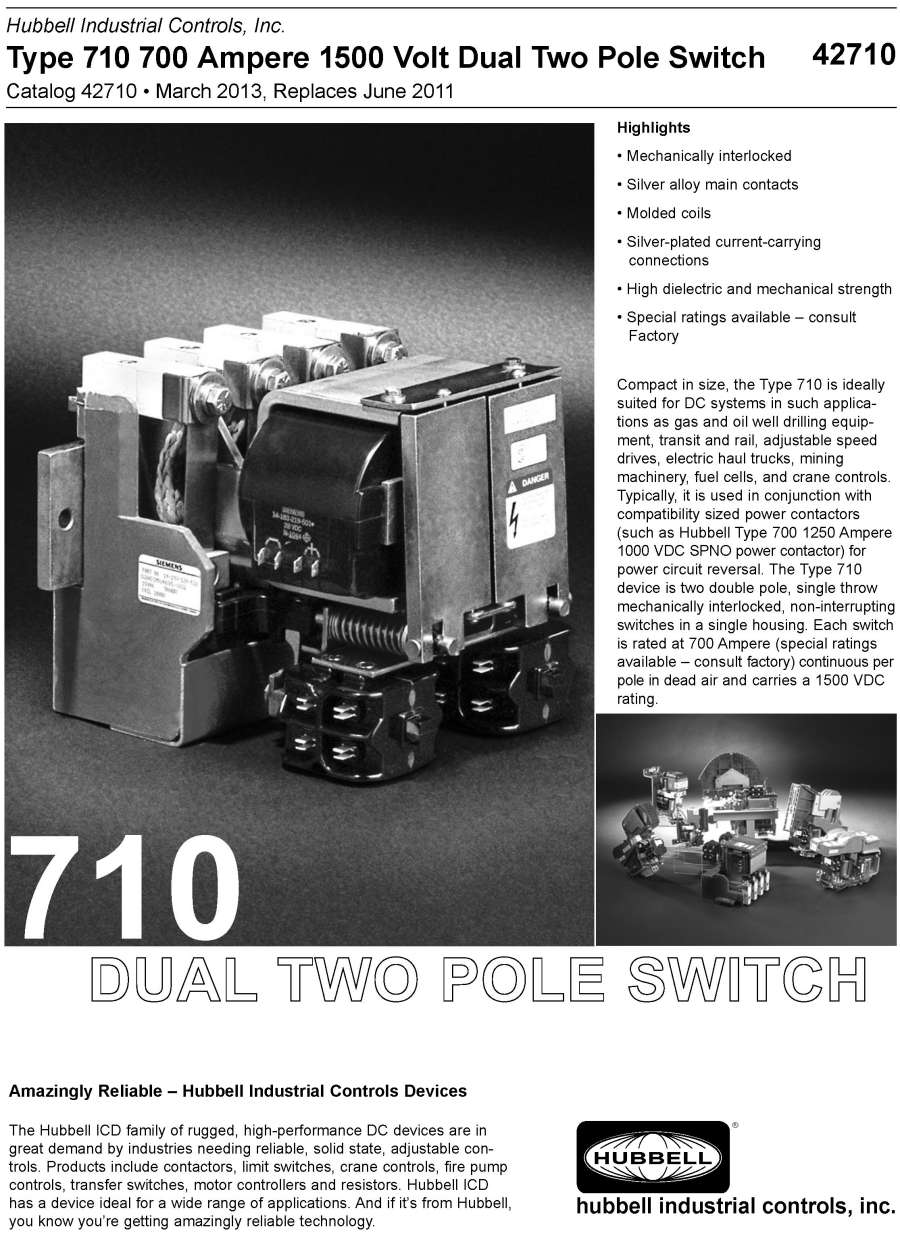 HubbellDirect.com: Products: DC Devices:42710 Type 710 700 AMP 1500 ...