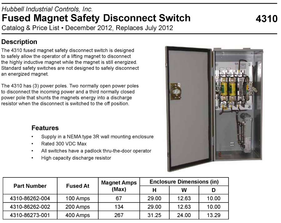 com products disconnect switches lifting magnet disconnect switch type 4310