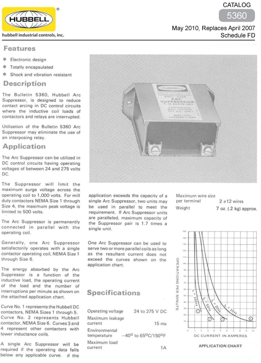 Products Electronic Components5360 Arc Suppressor Current Relay Price Utilization Of The Bulletin 5360 May Eliminate Use An Interposing Specifications List Catalog 2010