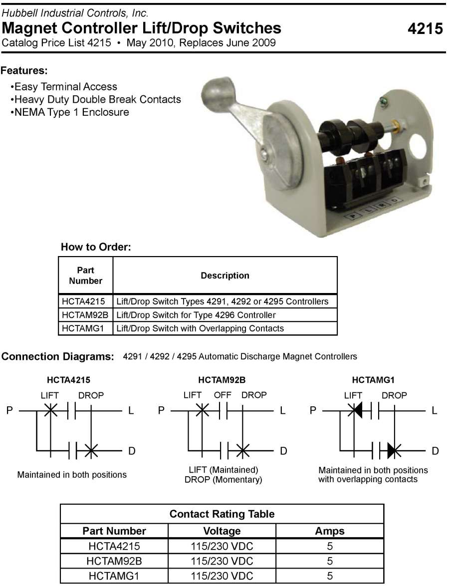 Magnetic Limit Switch Wiring Diagram Products Magnet Controls J2m92b Lift Off Drop Master Is Used With The 4296 Manual Discharge Controller Specifications Price List Catalog 4215 May 2010